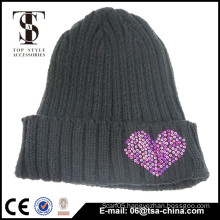 Winter acrylic jewelry hat knitted beanie fashion for young girl