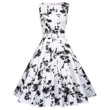 Belle Poque Stock sans manches 40 motifs Flower Print Cotton Vintage Retro 50s 60s Pinup Dress BP000002-40