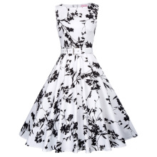 Belle Poque Stock Sleeveless 40 Patterns Flower Print Cotton Vintage Retro 50s 60s Pinup Dress BP000002-40