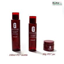 Garrafa cosmética vazia do frasco do tonalizador do animal de estimação da cor vermelha