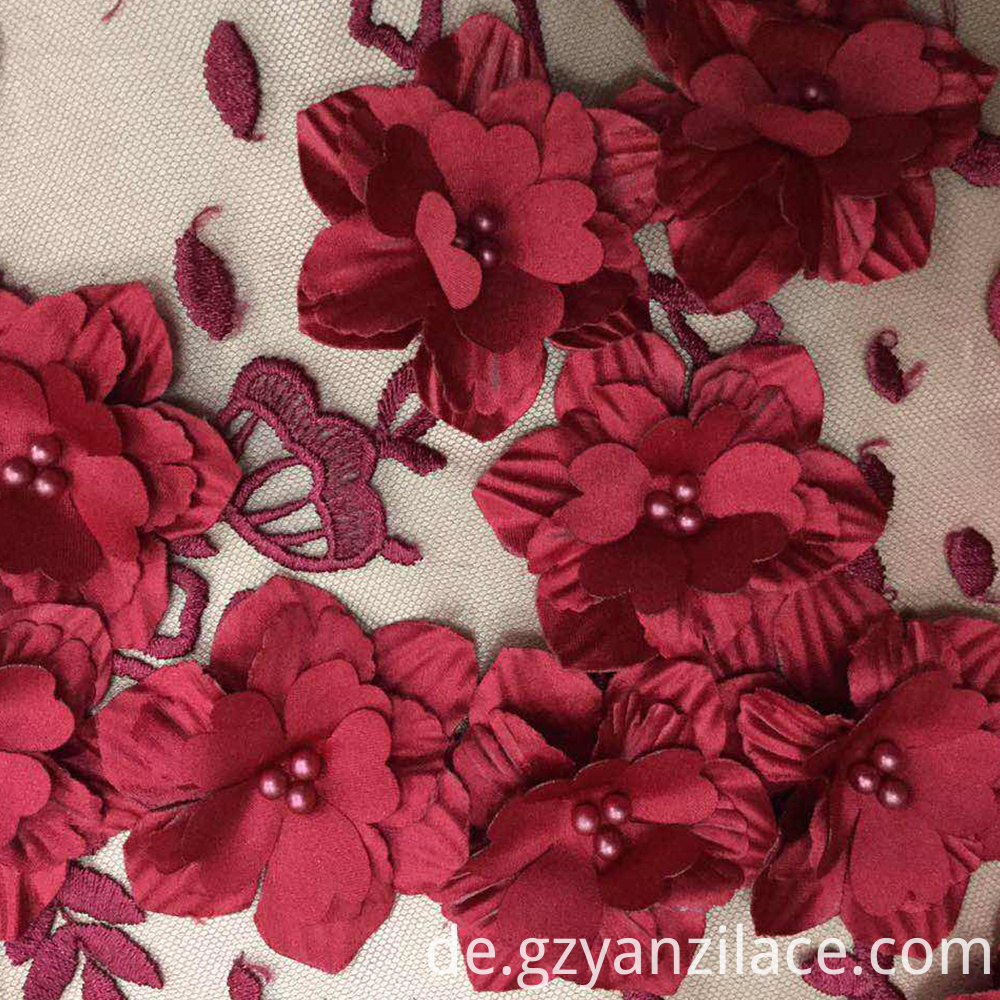 Colorful 3D flower Embroidery Fabric for Dress