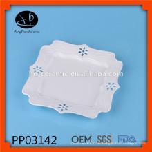 Elegante keramische quadratische Platte, Keramik-Carve-Teller, hohle Keramikplatte