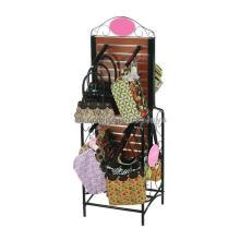 Freestanding Metal Hook Wood Panel Promotional Modern 2-Way Hand Bag Retail Store Display Shelf