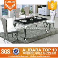 modern new style dining room furniture black rectangle marble top dining table sets