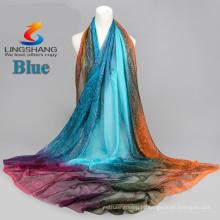 2015 novo chegam lenço multicolor da seda dos scarves do chiffon do veludo do bordado da forma da forma imprimiram o cabo longo do xaile da qualidade dos scarves