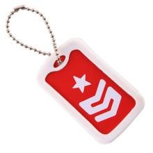 Belle étiquette de chien rectangulaire avec porte-clés