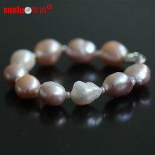 13-15mm joyas barrocas naturales de agua dulce de gran tamaño de las pulseras de la perla para las mujeres