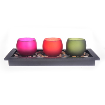 Candle Holder Glass Votive Big 3pcs Set