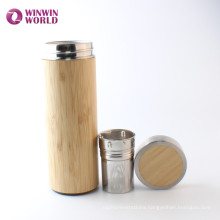 Leak-proof Wide Mouth Double Wall Bamboo Stainless Steel Thermos Bottle Tea Cup Mug To Go For Loose Leaf Tea Coffee
