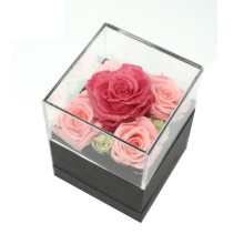 Home Decor Personalized Gift Display Black Case Preserved Clear Luxury Acrylic Rose Flower Box