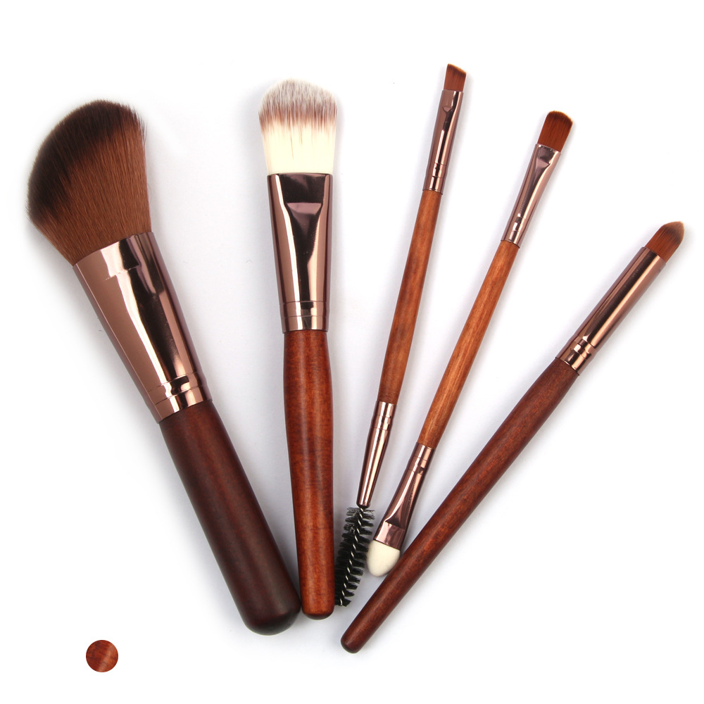 5 Pcs Wood Makeup Brushes Set display1-1