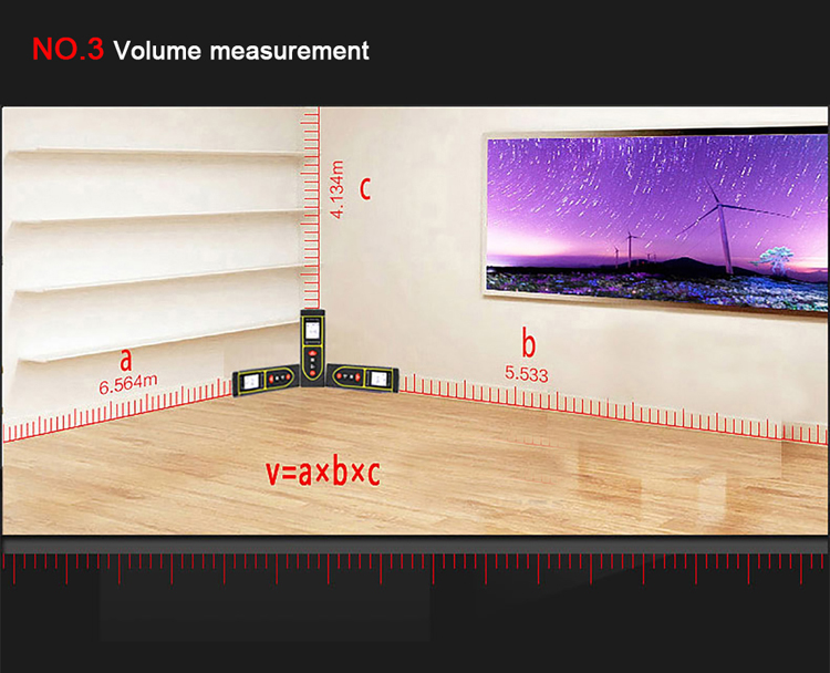 How to use 50m Indoor Laser Distance Measurer to measure volume