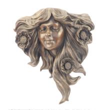 Relievo Estatua de latón Flor Relieve Deco Bronce Escultura Tpy-903