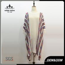 Frauen Mode Boho Gestrickte Gestreifte Fringe Poncho Shirt