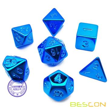 Bescon Unpainted Raw Plating Polyhedral Dice Set of Glossy Blue, RPG Dice Set of 7