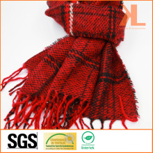 100% Acrylic Fashion Red & Black Checked Woven Scarf with Fringe