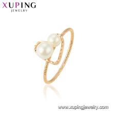 15439 xuping nouvelle dernière bague en or dessins mode blanc perle pour la fête pour les femmes bijoux