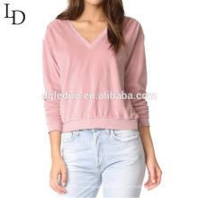 Venta caliente de algodón con cuello en v camiseta larga manga elegante mujer sudadera