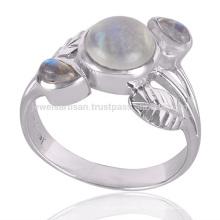 Qualité d'exportation élégante en argent naturel Rainbow Moonstone 925 Silver Ring