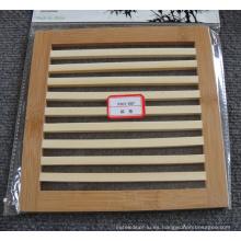 (BC-M1008) Estera de bambú natural hecha a mano del aislamiento de calor del cuadrado