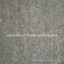 Tissu en polyester de laine avec chevrons pour le manteau (Art # UW083)