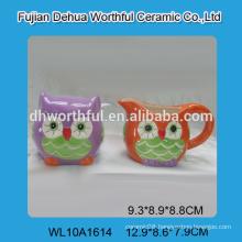 Wholesale personalized ceramic milk jug and sugar bowl set in owl shape