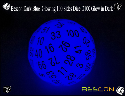 Bescon Dark Blue Glowing 100 Sides Dice D100 Glow in Dark-2