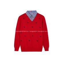 Jersey de punto para niño con cuello camisero y bordado de flamencos