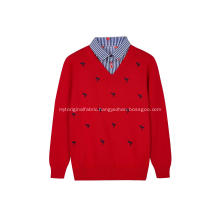 Boy's Knitted Flamingo Embroidery Shirt-Collar Pullover