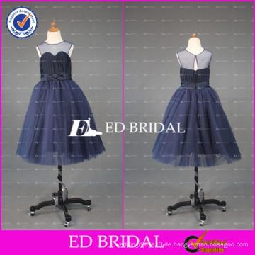 ED Braut nach Maß schiere Rundhalsausschnitt Ballkleid Knöchel Länge tiefes blaues Blumenmädchen Kleid 2017