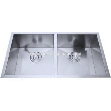 Undermount double bowl, R0 R10 R15 Radius,18 Guage 18/8 304 Stainless Steel Handmade Kitchen Sinks