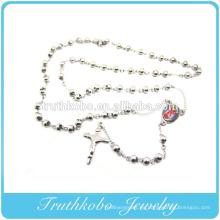 Joyería religiosa superventas para 2014 Collar de rosario cruzado Rosario de Santa Madre María Religiosa de acero inoxidable
