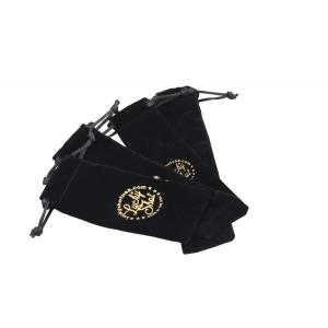 Customized Black velvet bag with drawstring and logo
