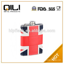 8oz uk laether wrapped stainless steel hip flask