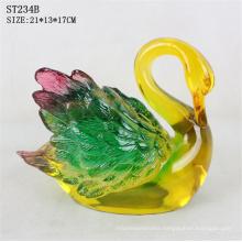 Restaurant decoration polyresin crafts imitated resin colorful jade swan