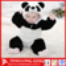 Panda de felpa en forma de bebé de invierno llano bebé suave con capucha mamelucos