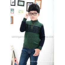 Stock Horn Knöpfe Rollkragen Kontrast Farbe Gestrickte Green Sweater