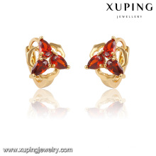 28230 Xuping Boucles d'oreilles en plaqué or 18 carats en forme de cœur Huggie