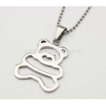 Brillante collar de plata de metal de acero inoxidable 316L Cachorros Collares colgantes lindos de oso pequeño para niñas
