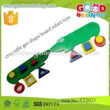 Hot Sale Educational Wooden Cute Crocodile Geo Shape Board Infant Toy