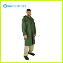 Green Color Adult PVC Polyester Long Rain Wear