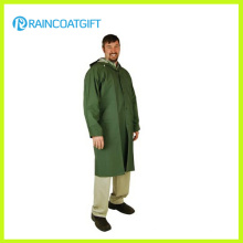 Green Color Adult PVC Polyester Long Rain Wear