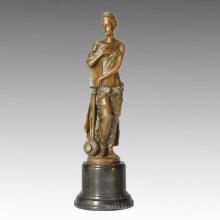 Classical Figure Sculpture Bottle Lady Carving Deco Brass Statue TPE-336~340