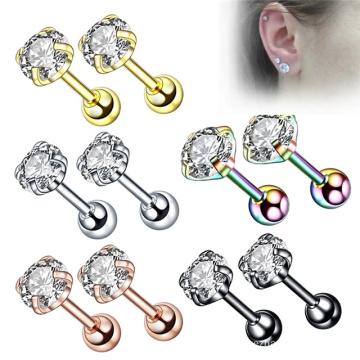 1 pcs Stainless Steel Medical Cartilage Body Piercing Zircon Ear Stud Earrings for Women Men
