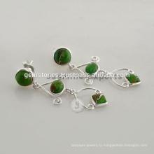 Оптовая Зеленый Халцедон Драгоценных Камней Модные Серьги