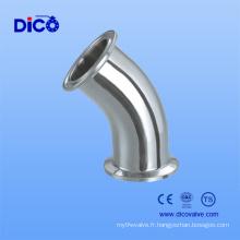 Coude de serrage sanitaire en acier inoxydable de 45 degrés