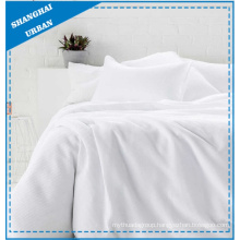 Solid White Waffle-Design Polyester Duvet Cover Set