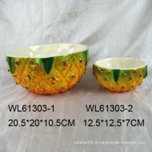 Adorável, cerâmico, abacaxi, tigela