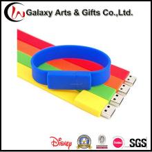 Personalizado Silkscreen Personalizado Impresso 16 GB USB Silicone Pulseira