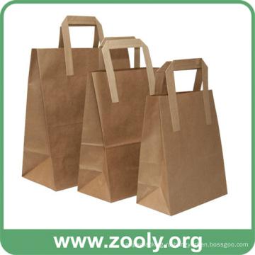 Экологичные Коричневые Природные Крафт-бумаги Подарочные Сумки с Плоскими Ручками
